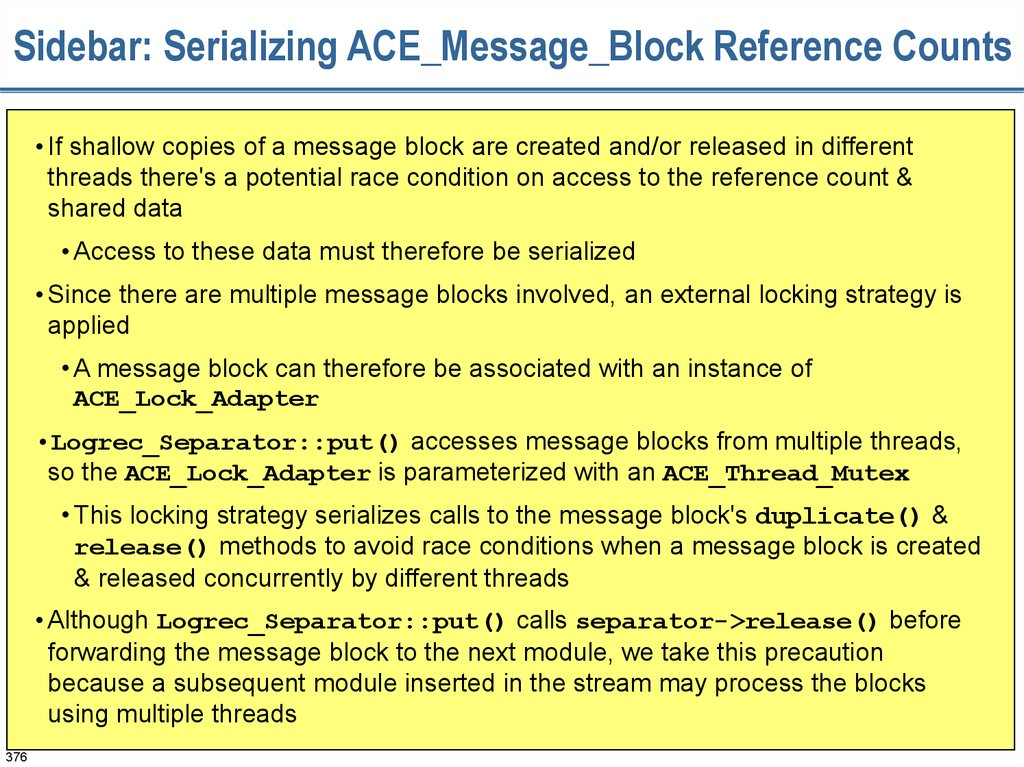 Sidebar: Serializing ACE_Message_Block Reference Counts