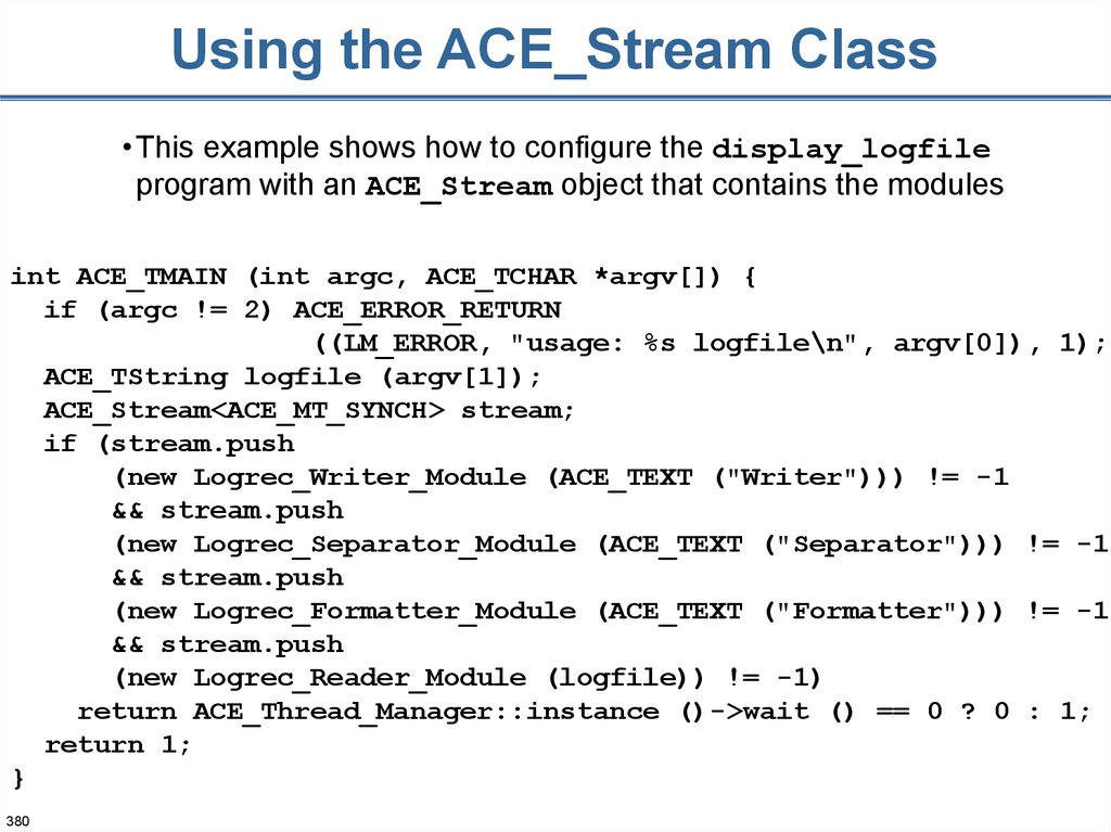 Using the ACE_Stream Class