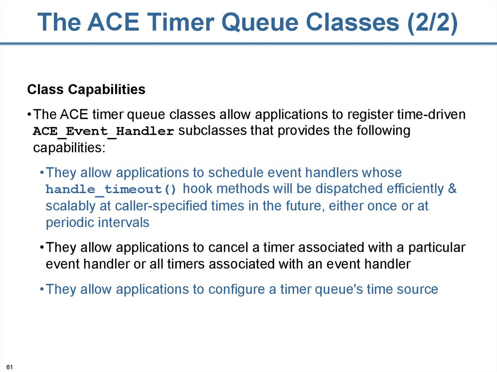 The ACE Timer Queue Classes (2/2)
