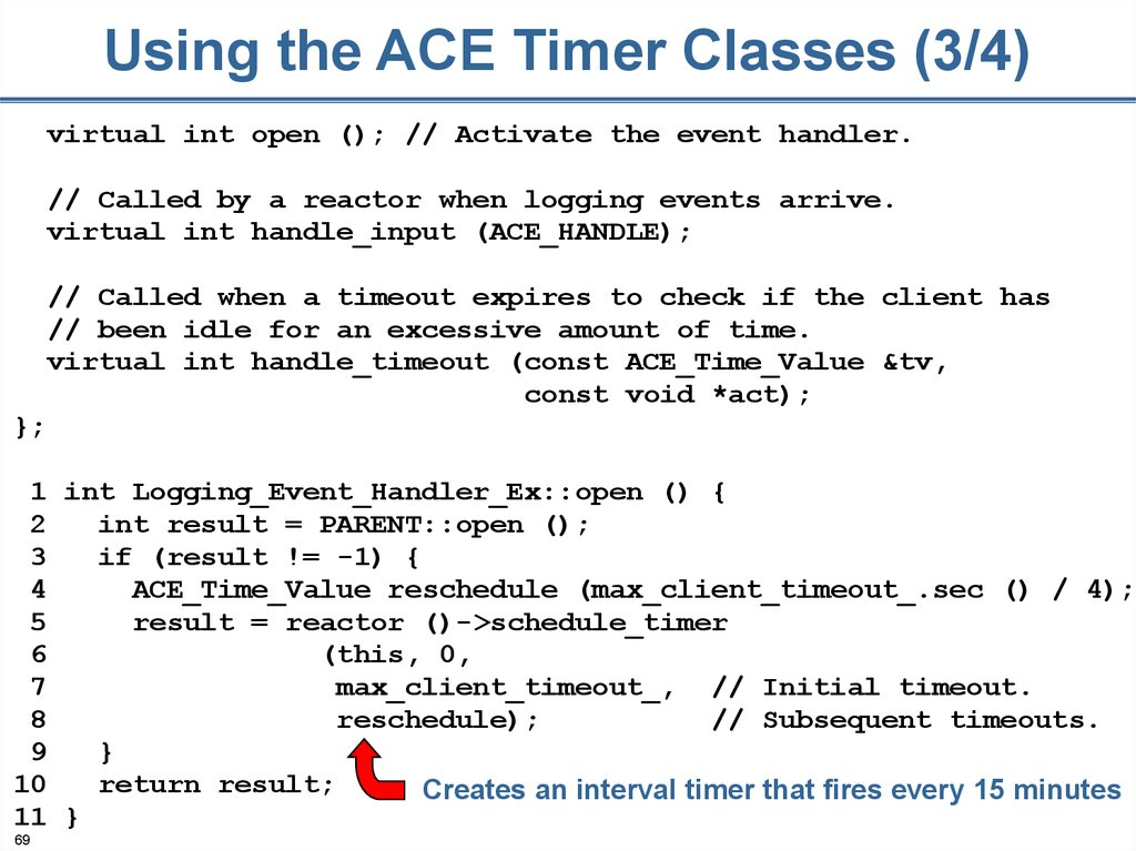 Using the ACE Timer Classes (3/4)