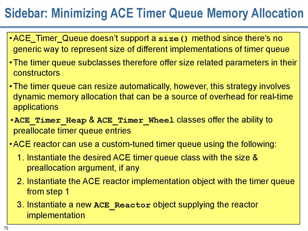 Sidebar: Minimizing ACE Timer Queue Memory Allocation