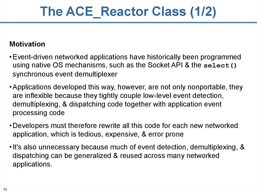 The ACE_Reactor Class (1/2)