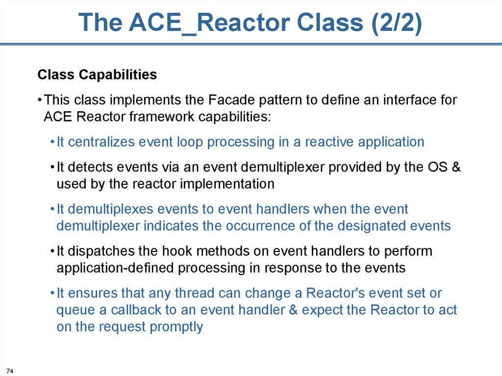 The ACE_Reactor Class (2/2)