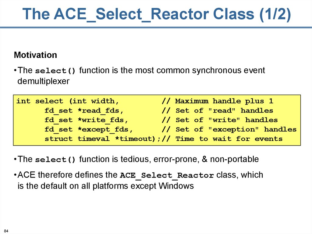 The ACE_Select_Reactor Class (1/2)