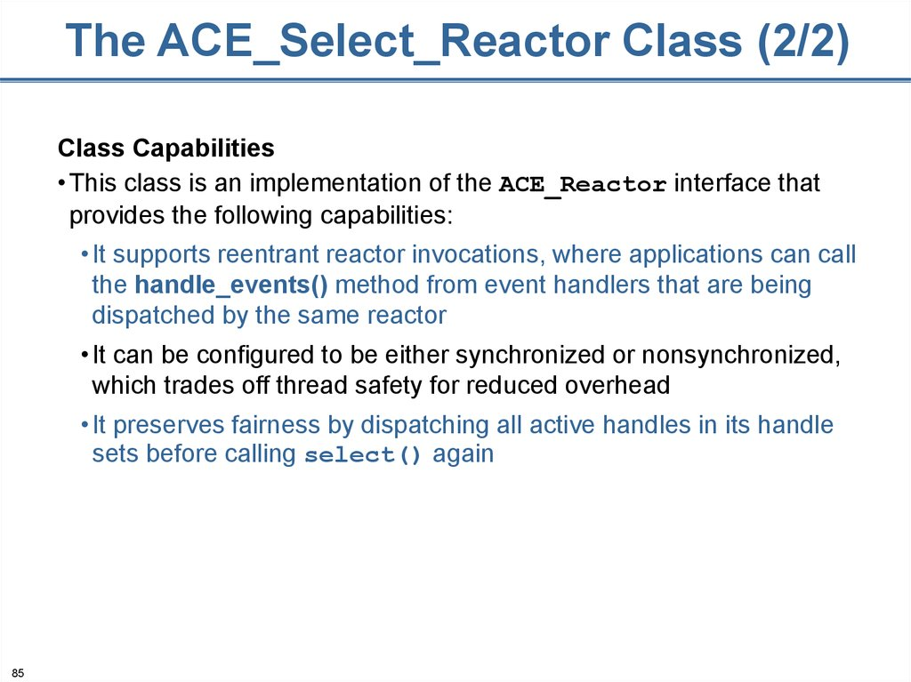 The ACE_Select_Reactor Class (2/2)