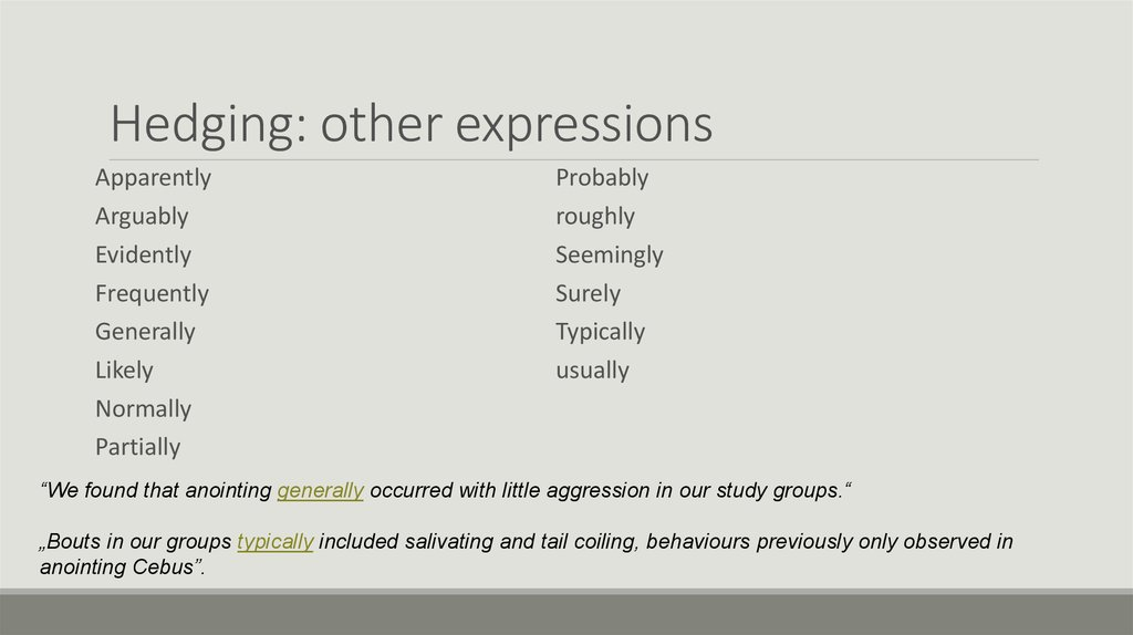 Hedging: other expressions