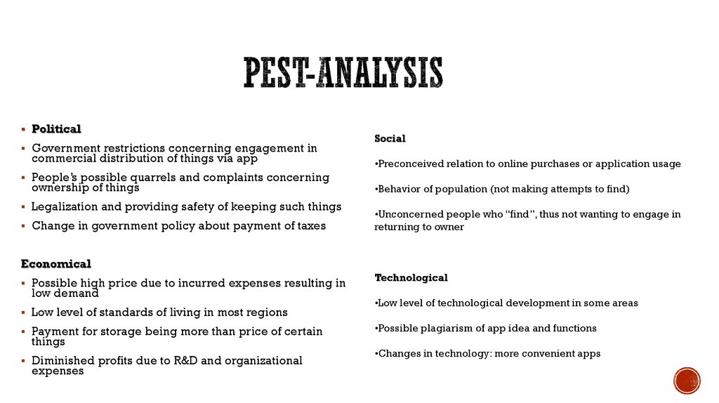 boutiques pest analysis Pest stands for political, economic, social and technological impact on a company there are people who will roll their eyes and believe that a pest analys.