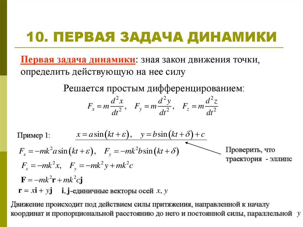 Основная задача динамики и ее решение решение задач тремя этапами