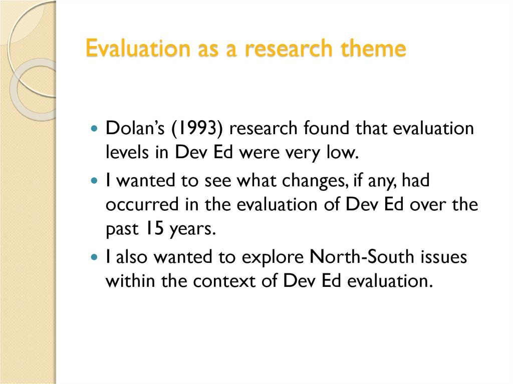 Evaluation as a research theme