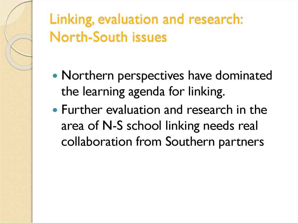 Linking, evaluation and research: North-South issues