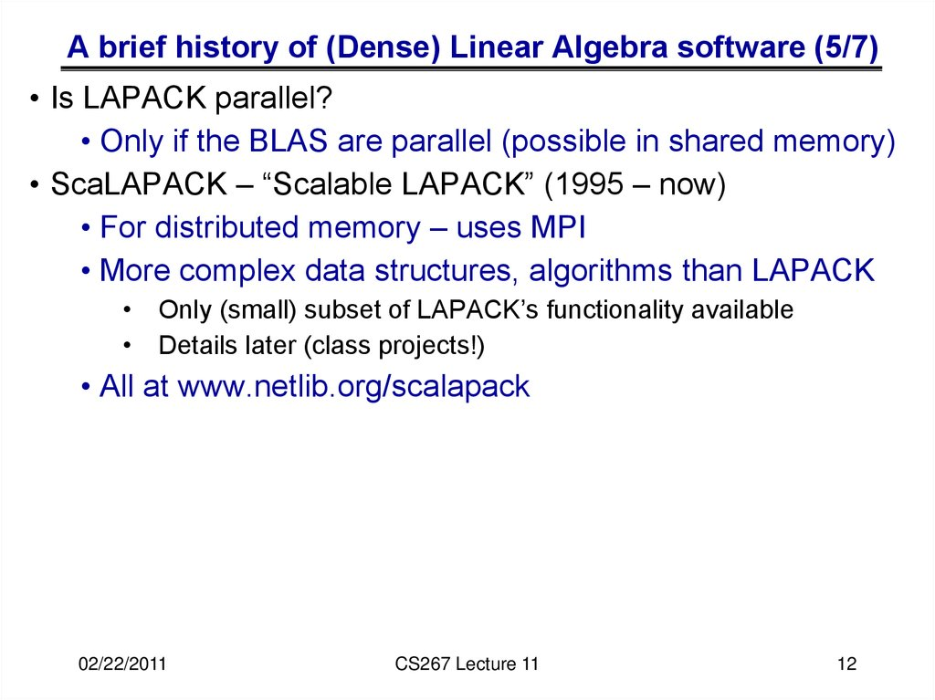 A brief history of (Dense) Linear Algebra software (5/7)