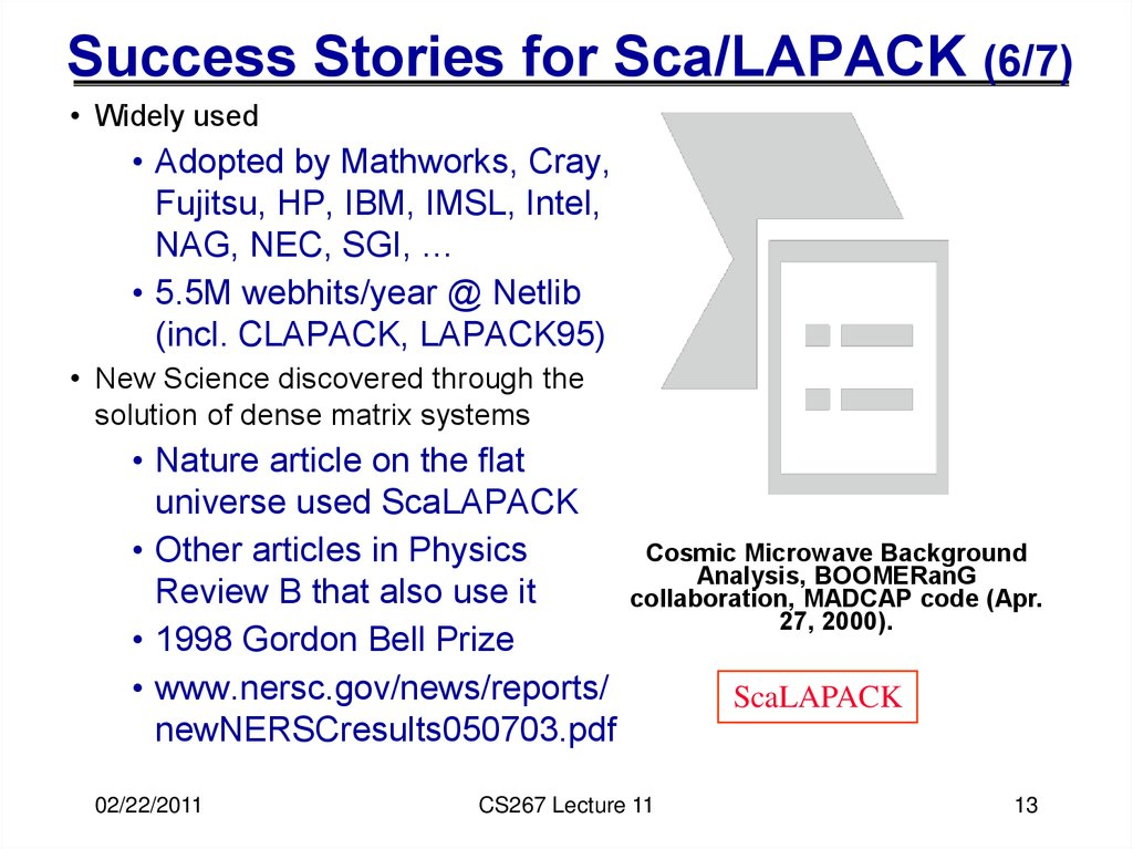 Success Stories for Sca/LAPACK (6/7)