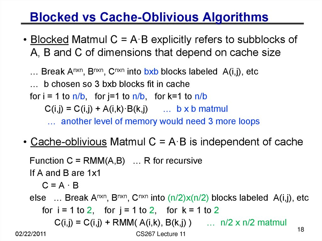 Blocked vs Cache-Oblivious Algorithms