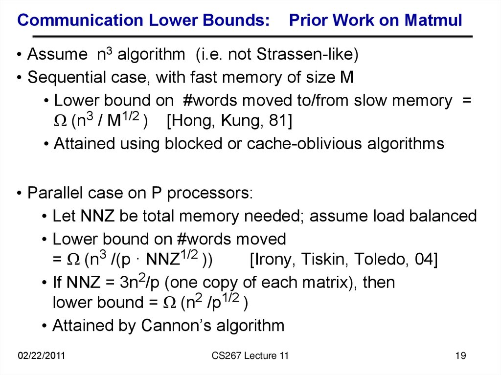 Communication Lower Bounds: Prior Work on Matmul