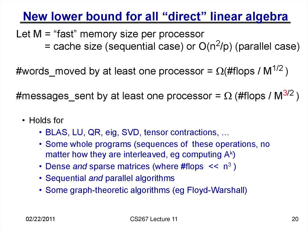 "New lower bound for all ""direct"" linear algebra"