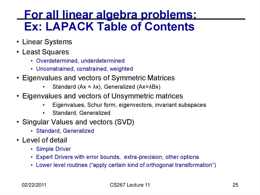 For all linear algebra problems: Ex: LAPACK Table of Contents