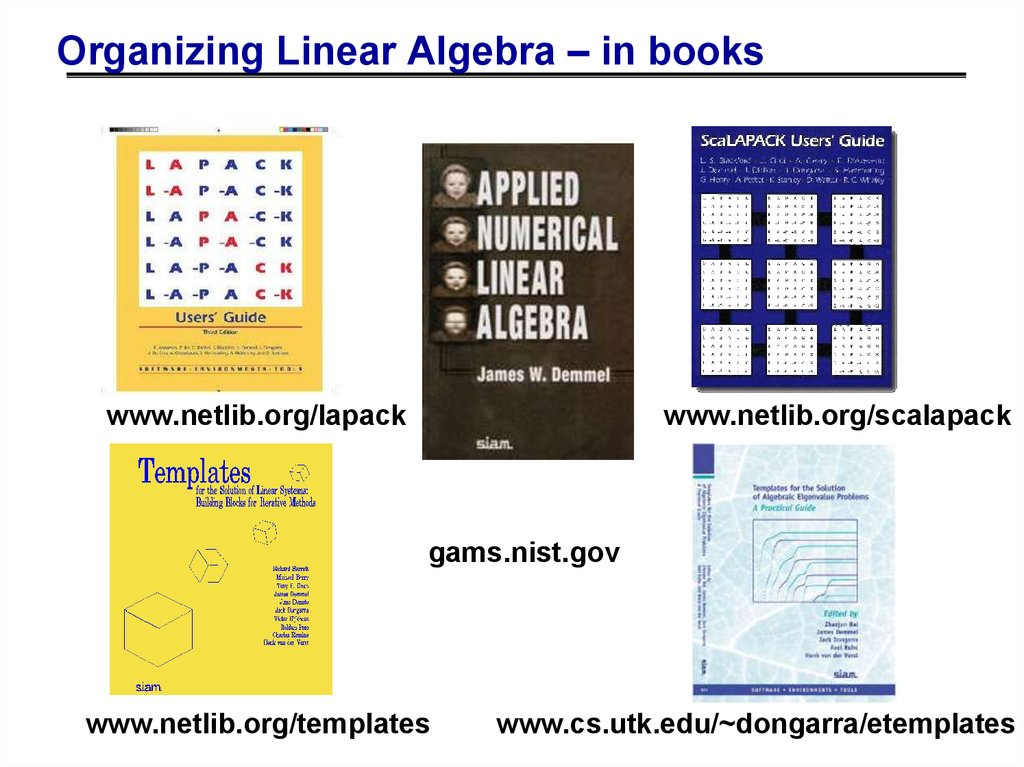 Organizing Linear Algebra – in books
