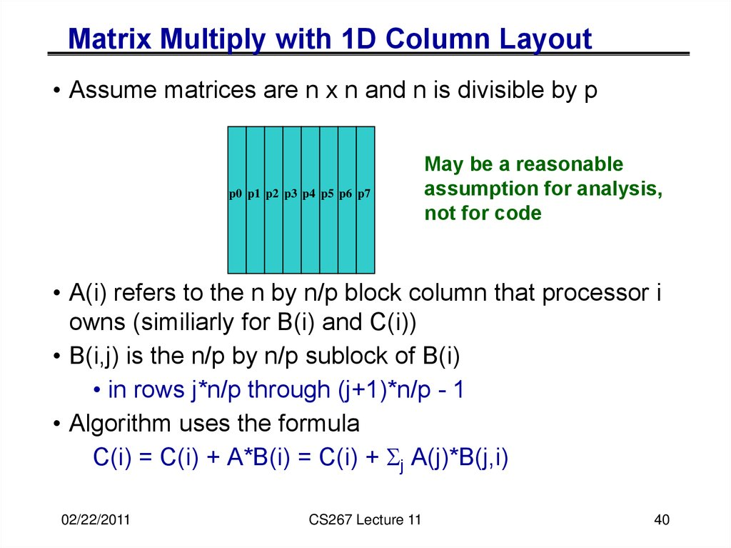 Matrix Multiply with 1D Column Layout