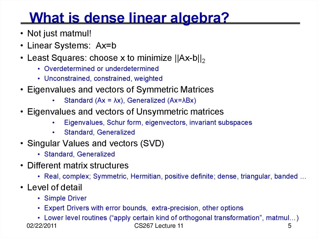 What is dense linear algebra?