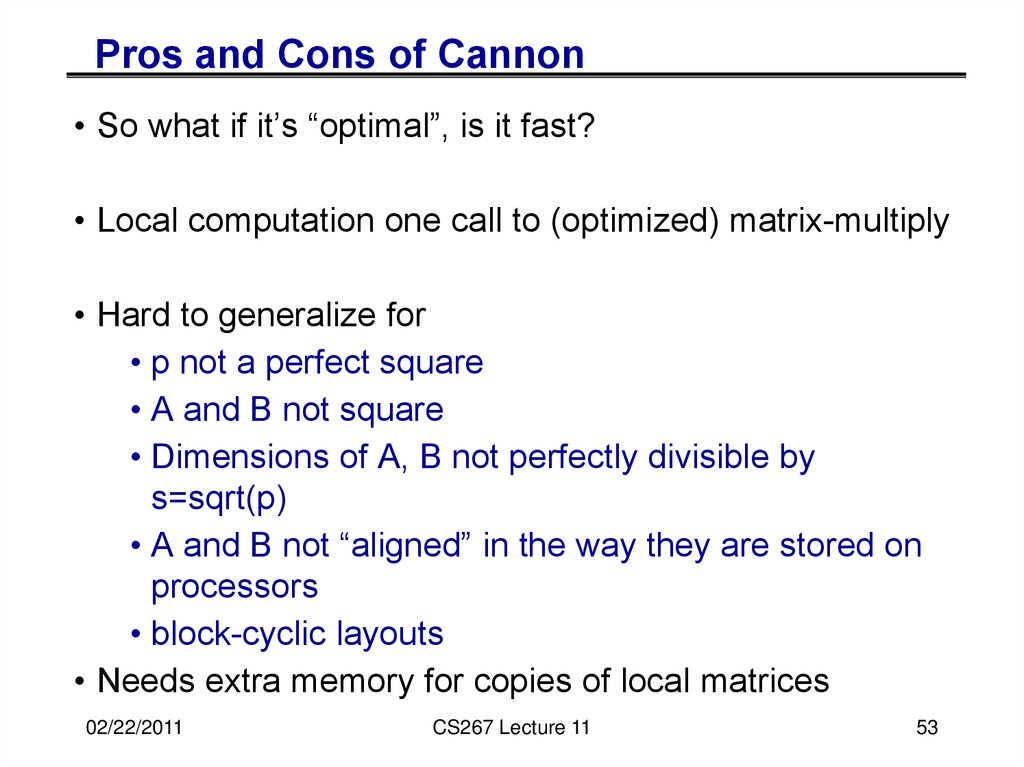 "Cannon's Algorithm is ""optimal"""