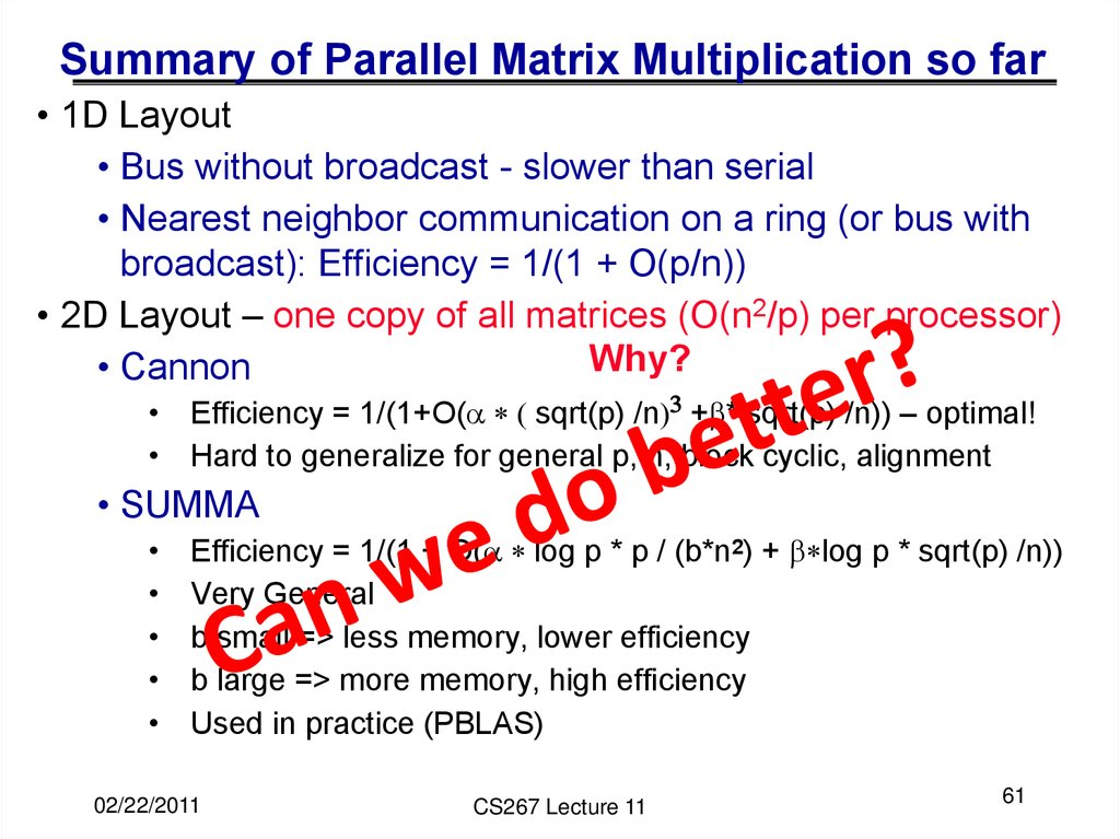 Summary of Parallel Matrix Multiplication so far