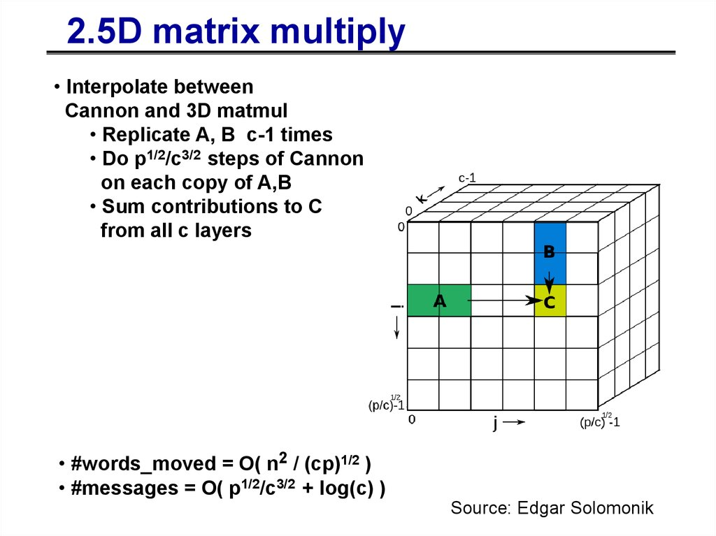 2.5D algorithms – for c copies
