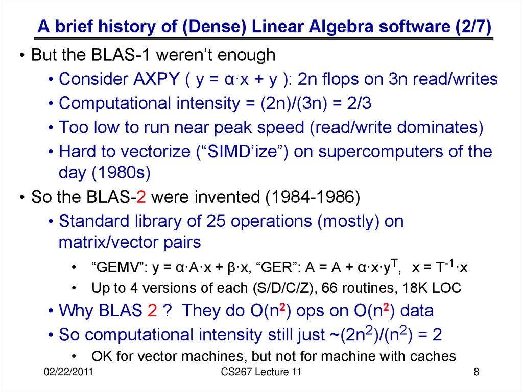 A brief history of (Dense) Linear Algebra software (2/7)