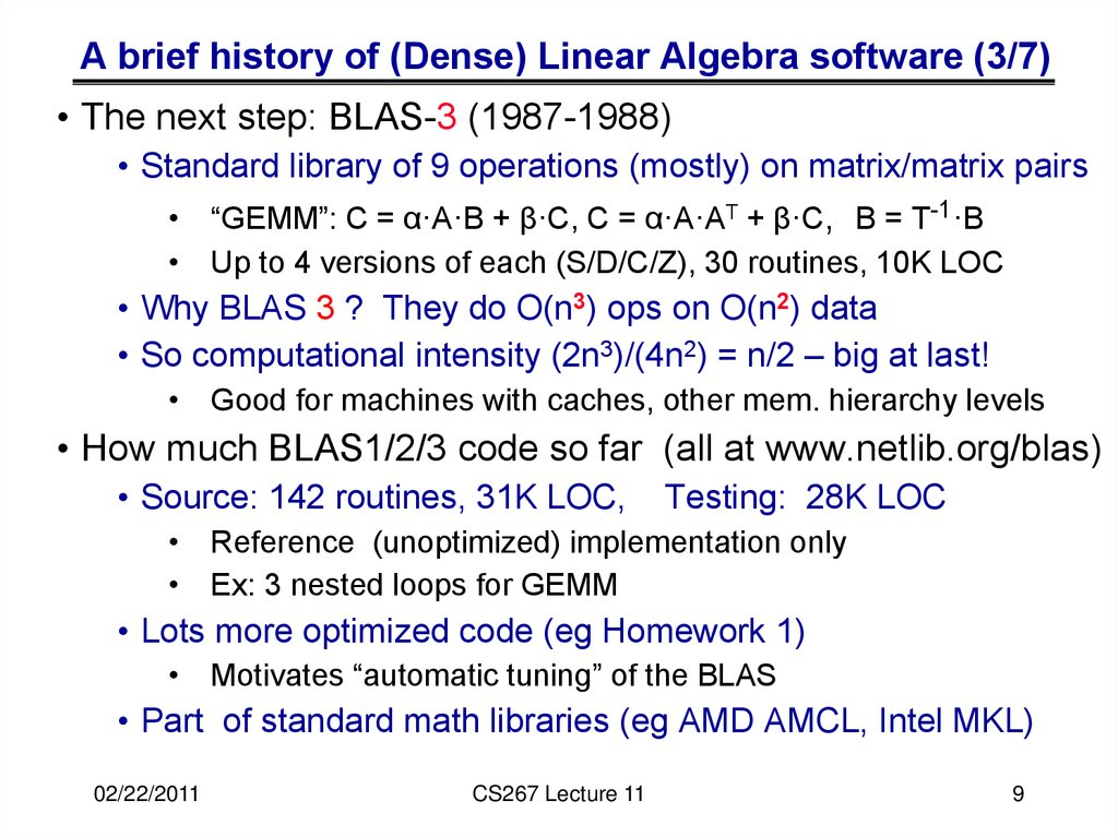 A brief history of (Dense) Linear Algebra software (3/7)