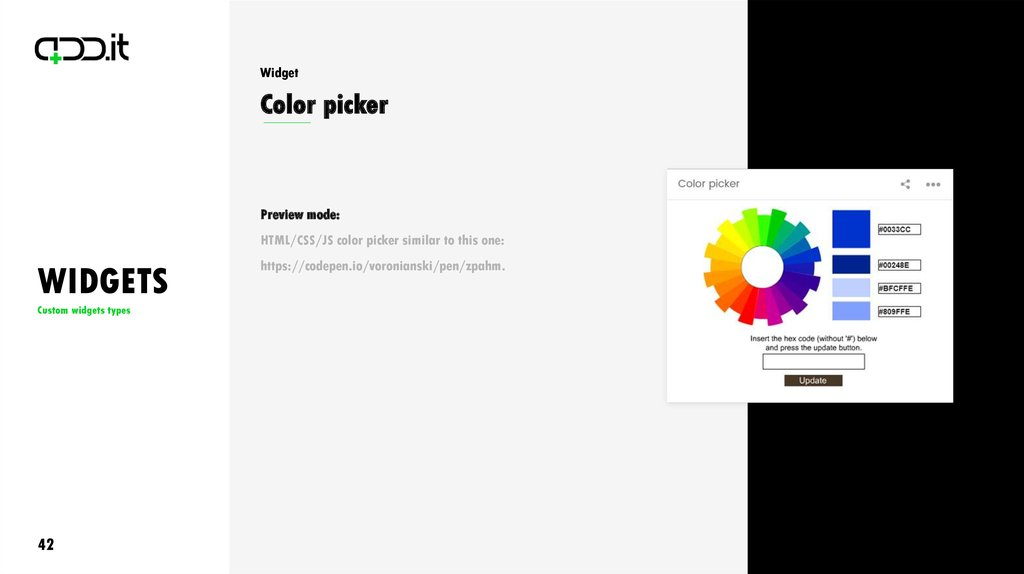 Widgets  Custom Widgets Types - online presentation