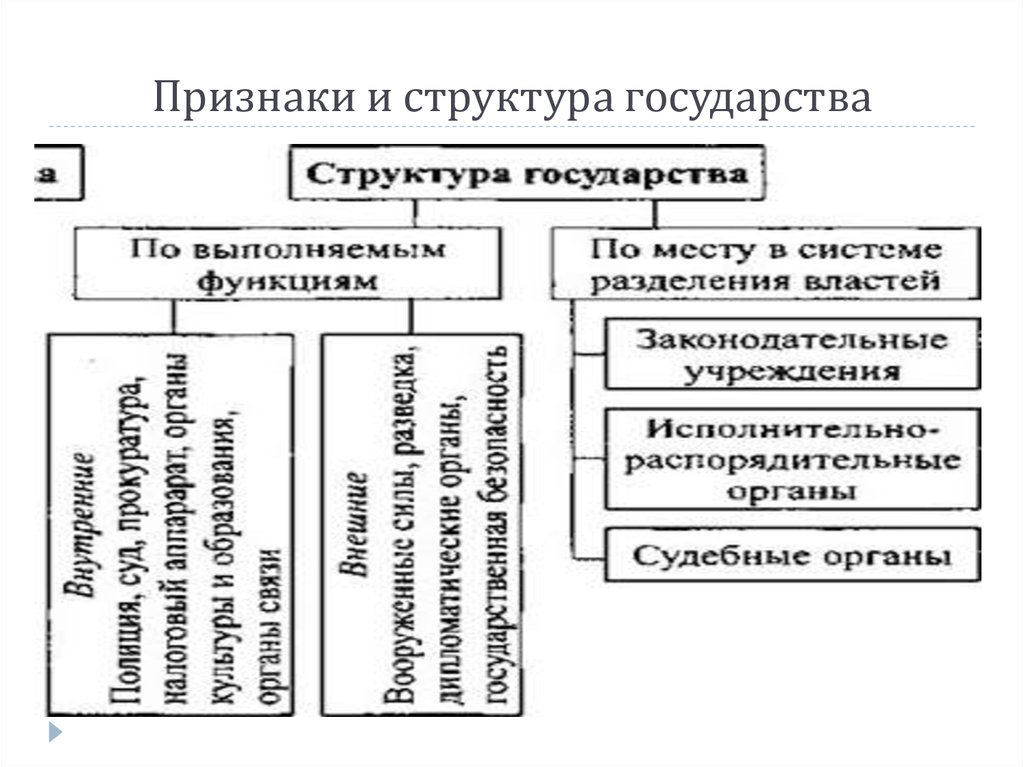 Шпаргалка структура государства