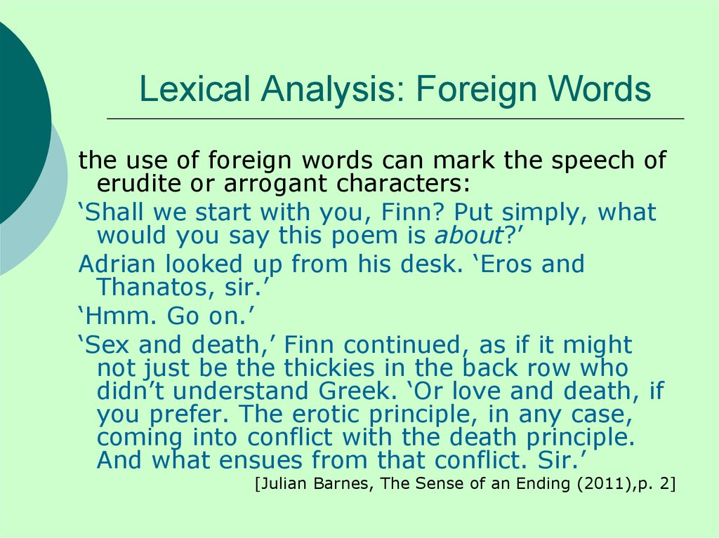 Lexical Analysis: Foreign Words