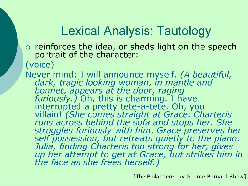Lexical Analysis: Tautology