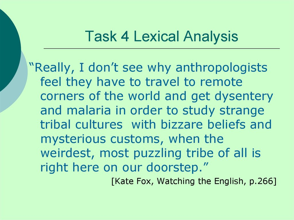 Task 4 Lexical Analysis