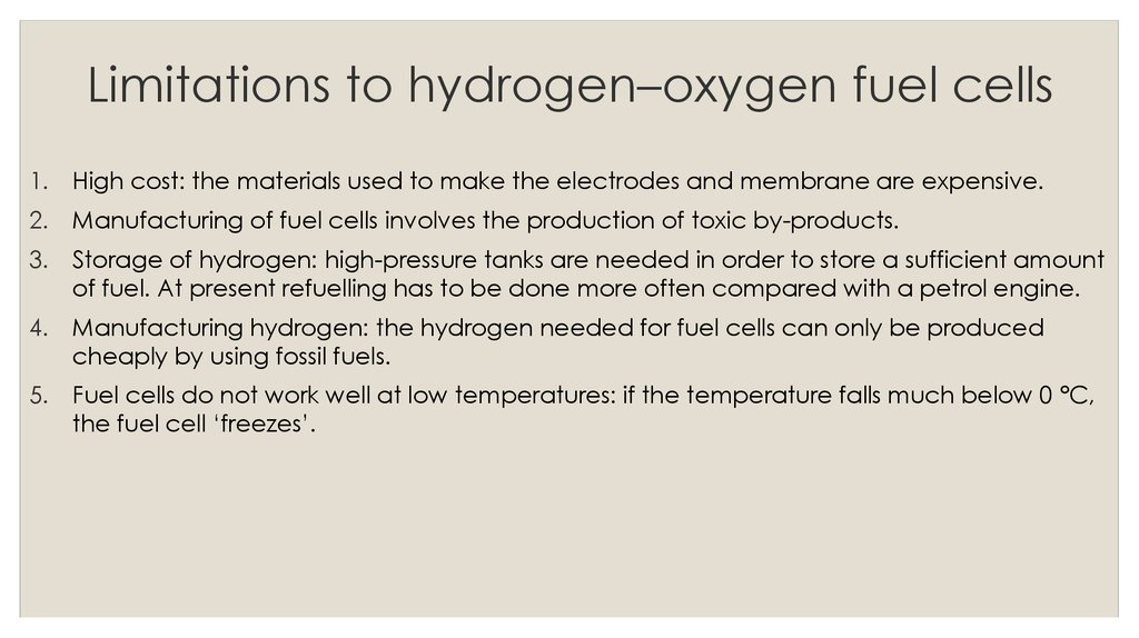 Limitations to hydrogen–oxygen fuel cells