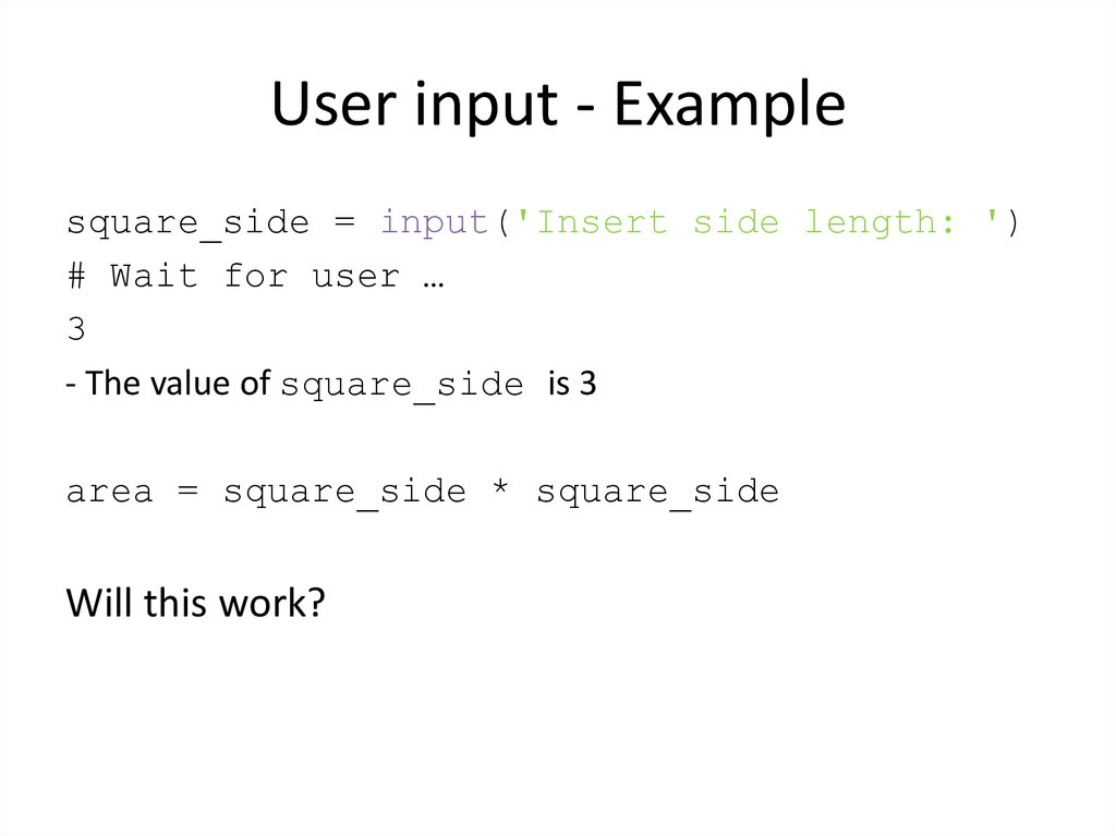 User input - Example