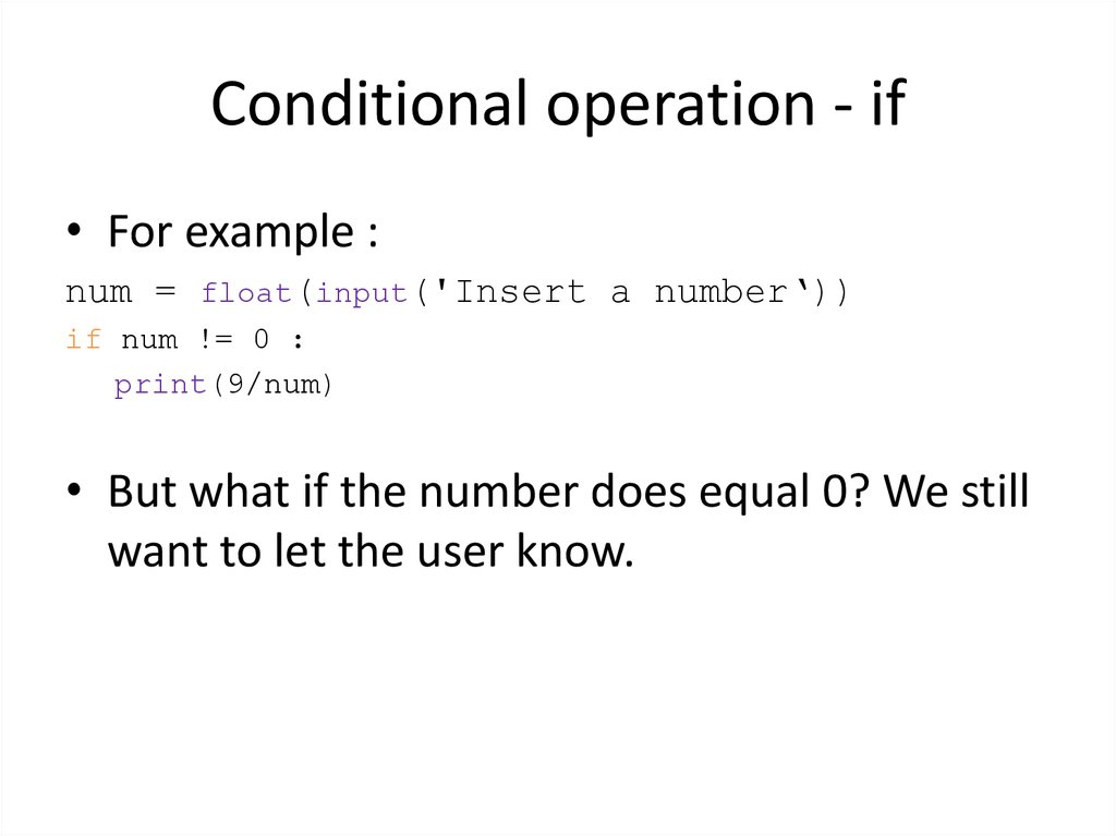 Conditional operation - if