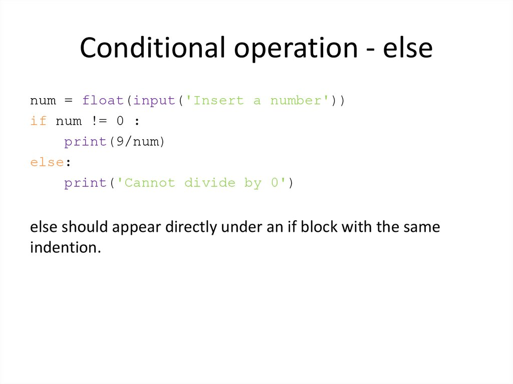 Conditional operation - else