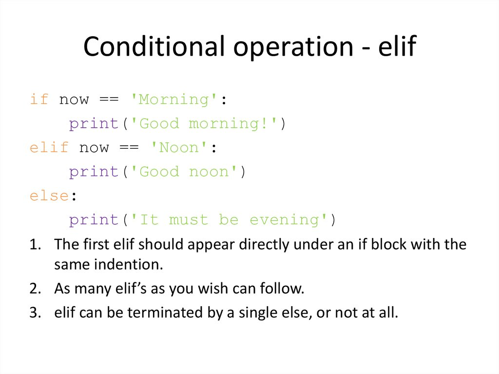Conditional operation - elif