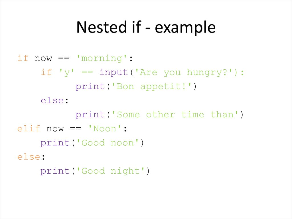 Nested if - example