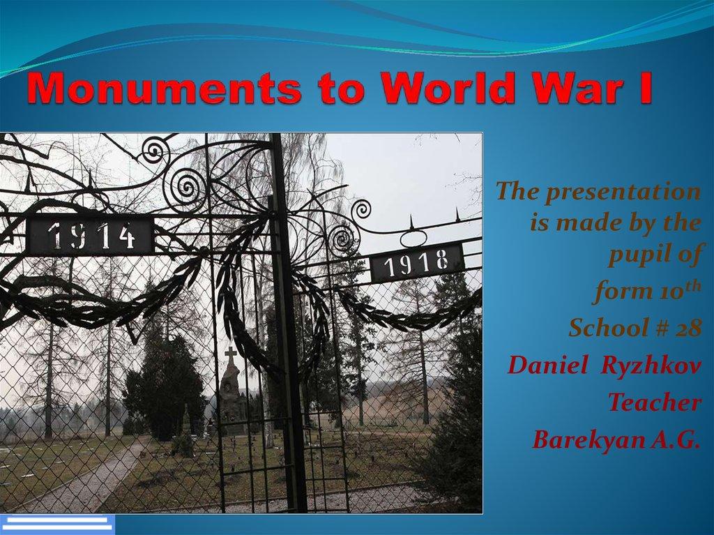 Monuments to World War I - online presentation