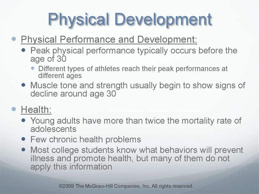 Opinion you Physical development of adults was