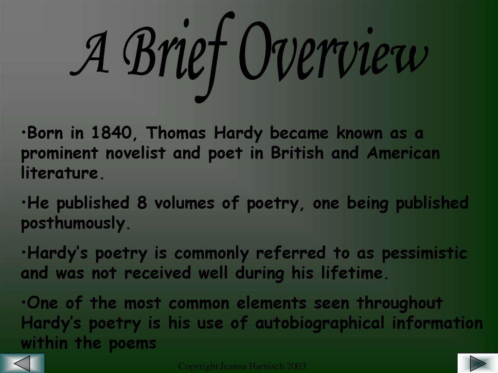 thomas hardy poetry themes