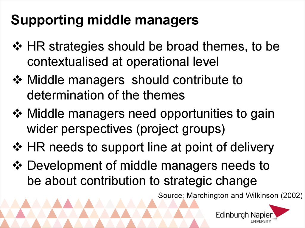 Supporting middle managers