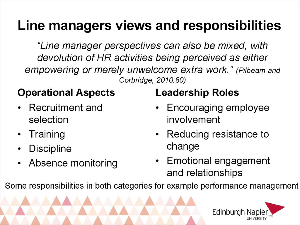 Line managers views and responsibilities