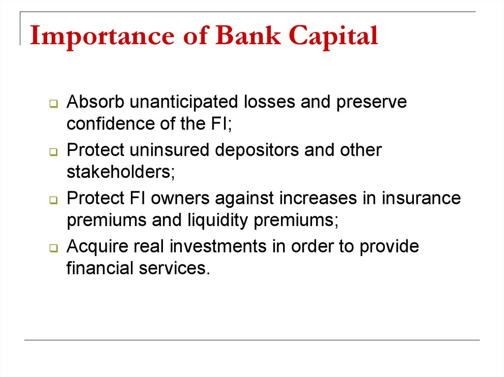 Importance of Bank Capital
