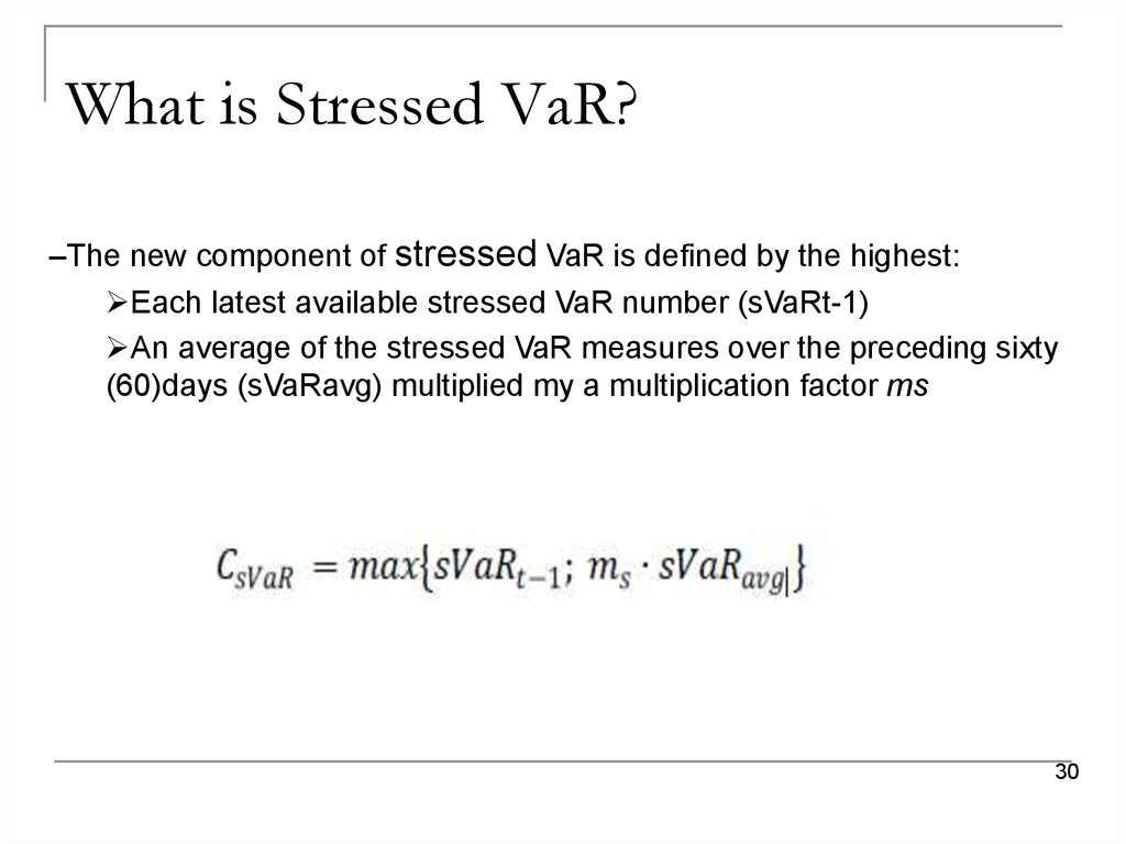 What is Stressed VaR?