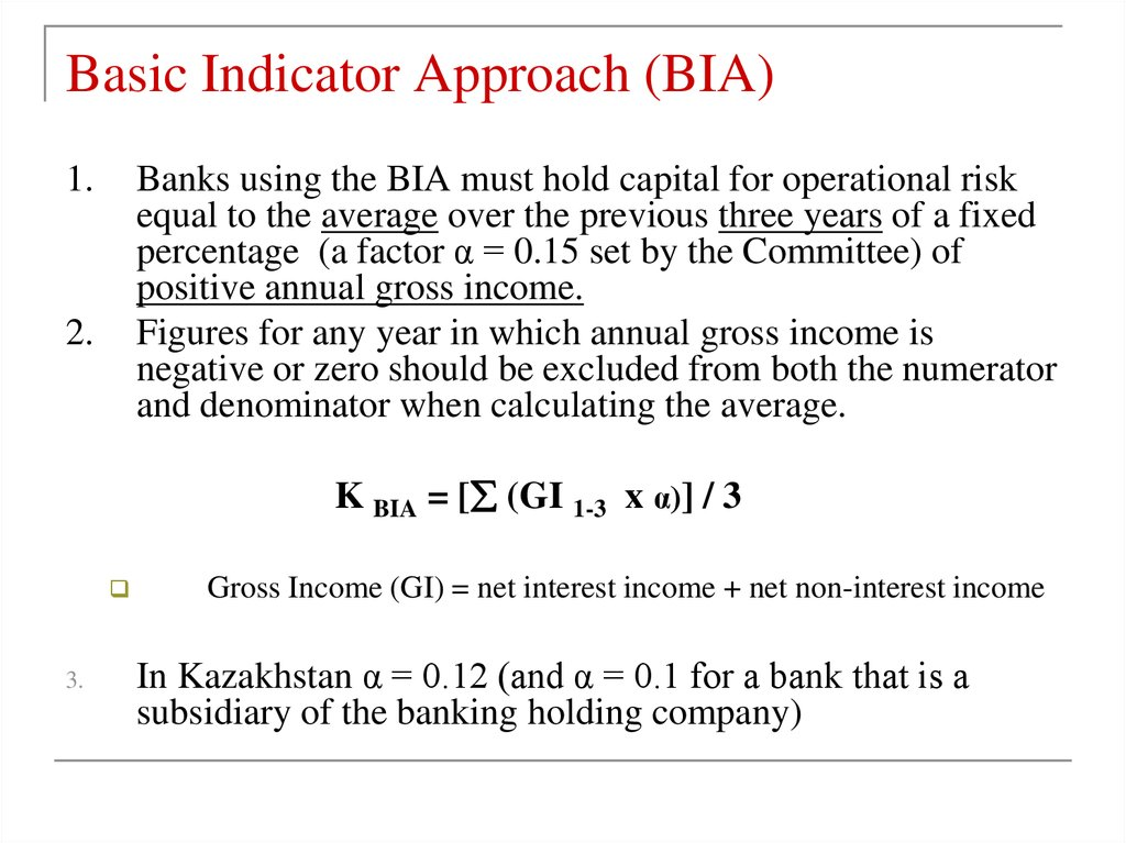 Basic Indicator Approach (BIA)