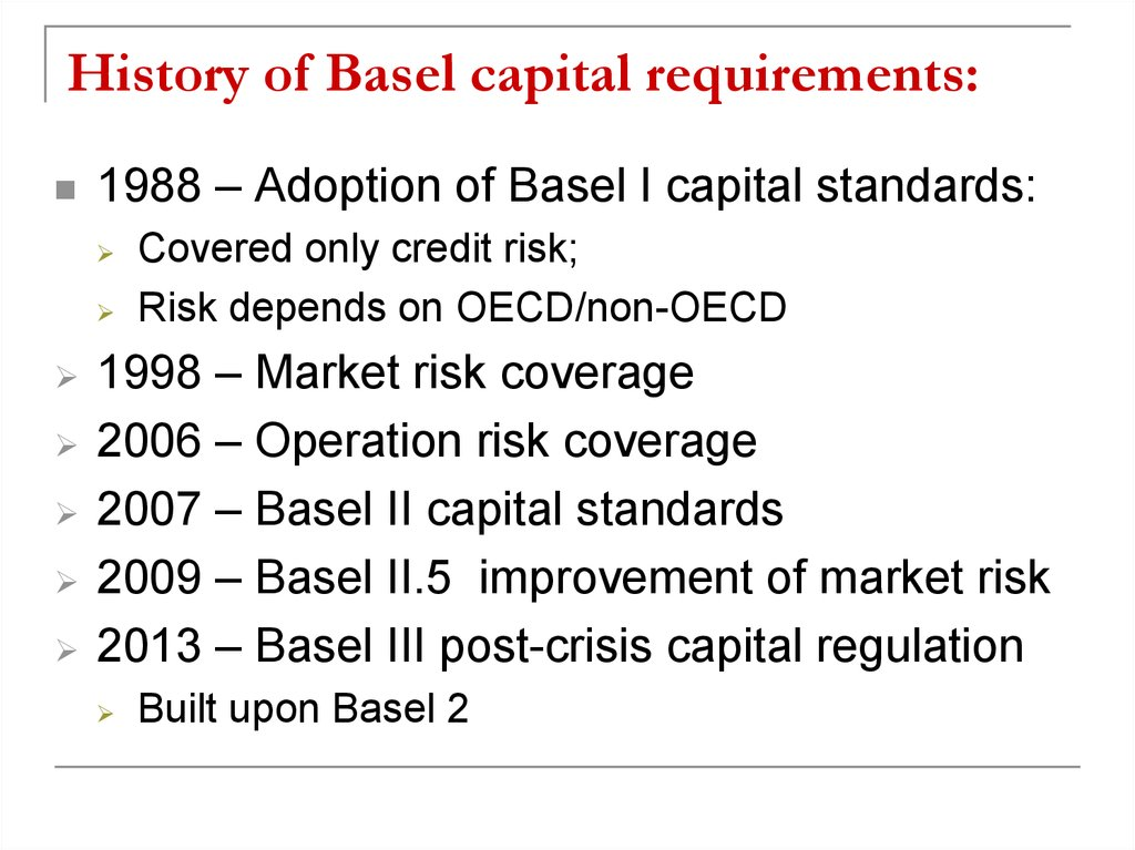 History of Basel capital requirements: