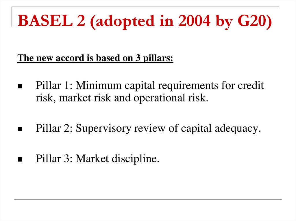 BASEL 2 (adopted in 2004 by G20)