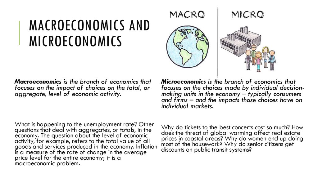 microeconomics and macroeconomics 2 essay Macroeconomics is the study of the economy as a whole microeconomics is the study of the individual firm and the effects of individual decisions.